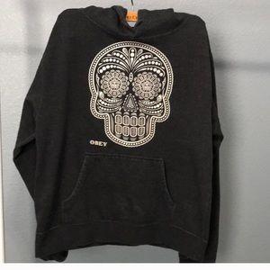 Obey Black Skull Hoodie - XL
